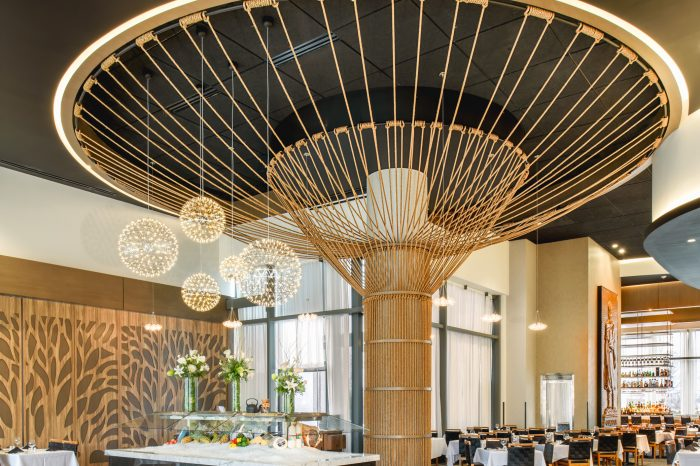 Rope Tree Sculpture at Fogo De Chão by Windy Chien, Commercial Interior Design & Architecture, Commercial Photography by Daniel Green, Atlanta, GA