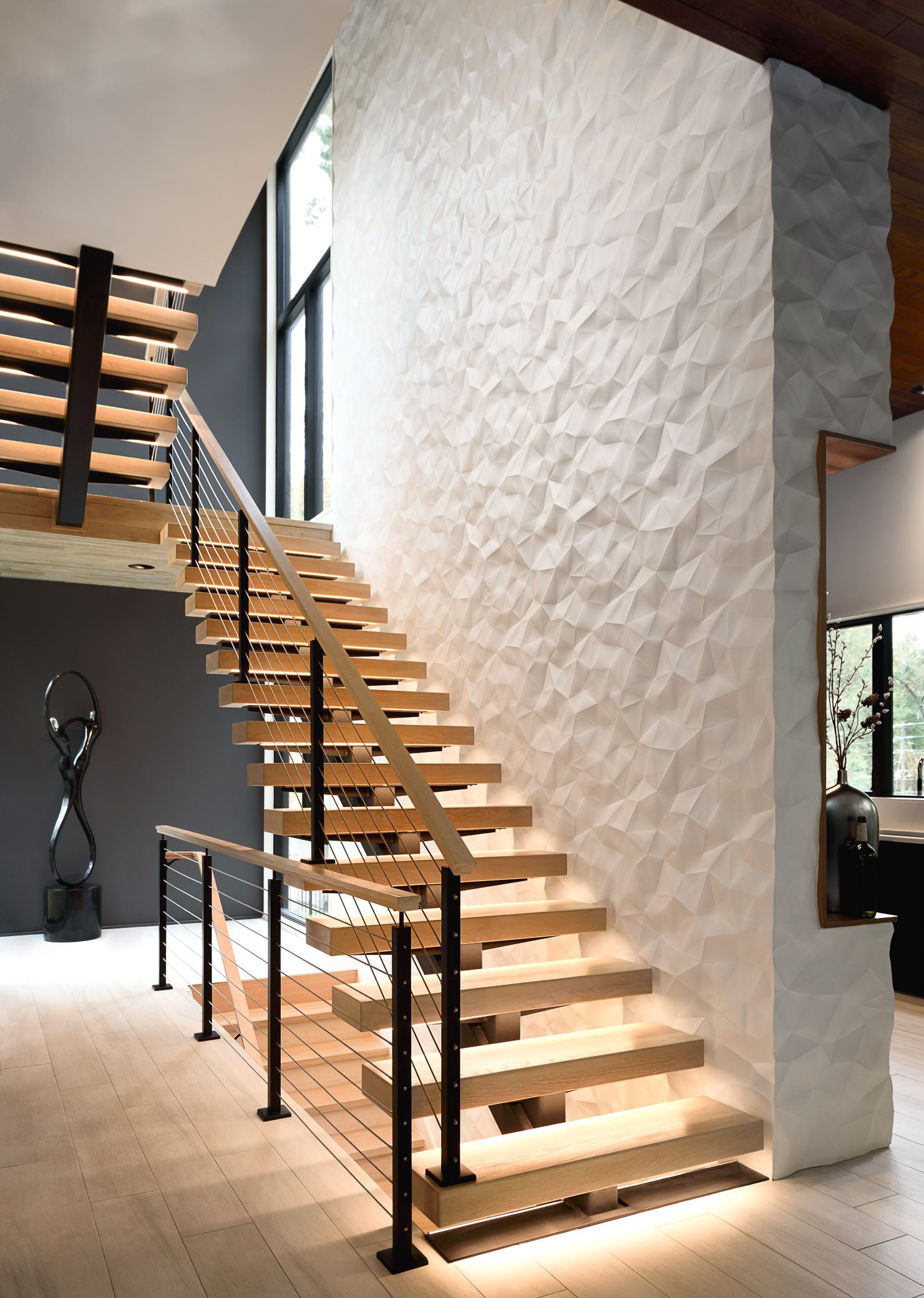 Residential Stairway Feature Wall, Interiors Architecture Design - © Daniel Green Architectural + Interiors Photography